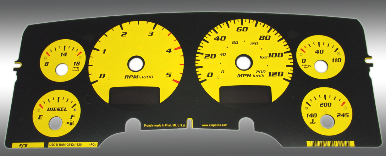 Overlay Dodge Ram Yellow on 2005 Dodge Ram Dash Lights